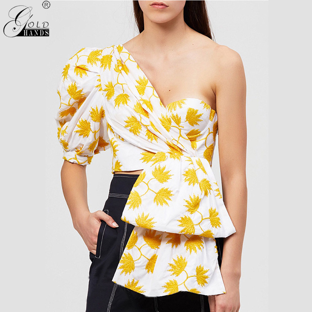 Gold Hands 2019 Fashion New Female Summer Clothes New Casual Print Shirt for Women Puff Sleeve Off Shoulder Irregular Crop Tops