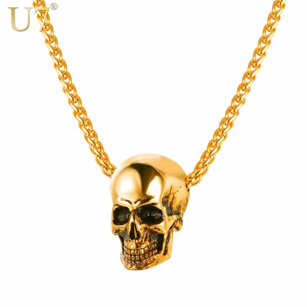 U7 Halloween Jewelry Skull Necklace Stais
