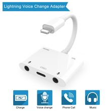 For Lightning to Voice Beauty Audio Adapter with dual Mirco Port lightning port adapter for iphoneX/8/7/7P/6/6s/6s