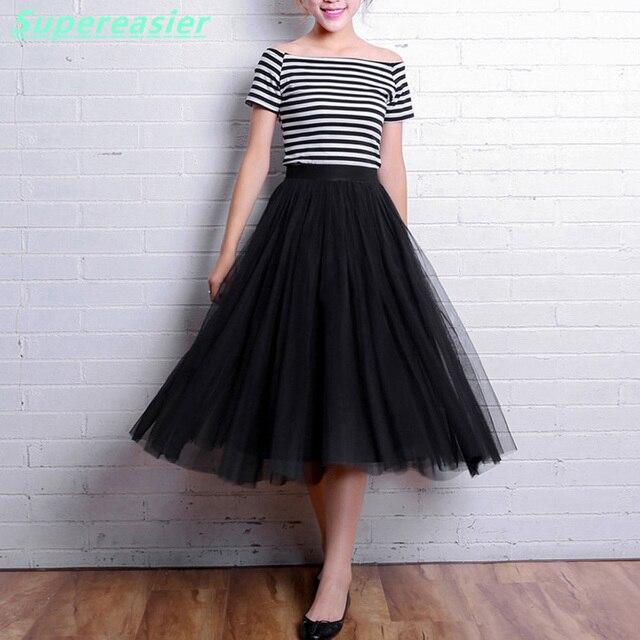 Moda faldas tul mujer verano 2016 negra blancas Gris midi falda larga  plisada faldas tul capas bc2e7d6f0fcc