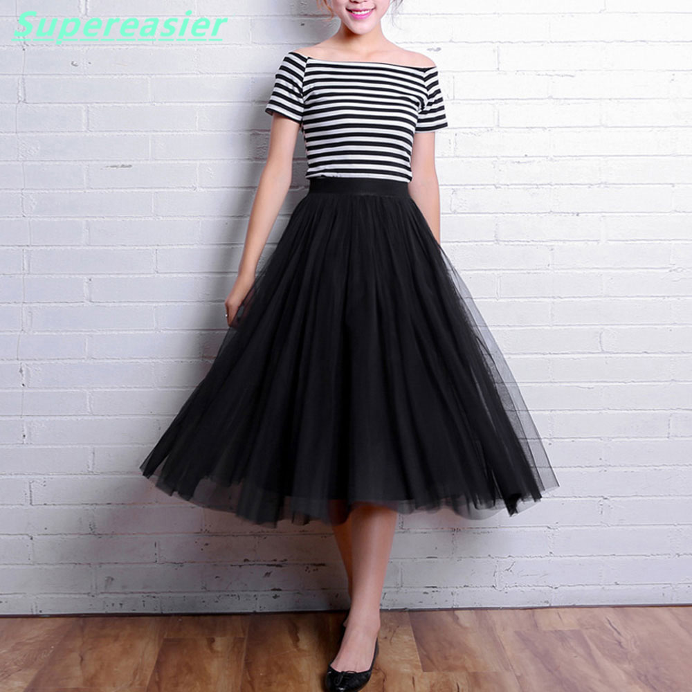 Women Tulle Tutu Skirt Black White Grey Mid Calf Ball Gown Long ...