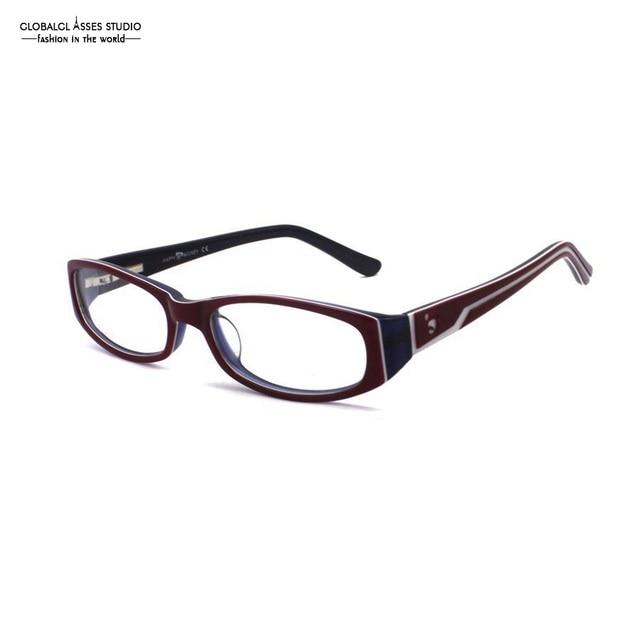 9e141e782cf60 Lente Oval Acetato Óculos de Armação Mulheres maduras Vermelho em Azul  Deboss Dobradiça de Mola Templo
