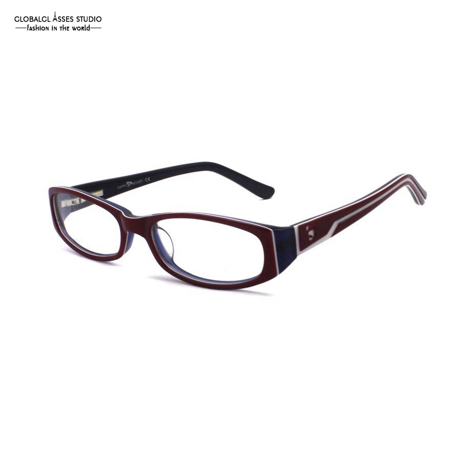 ab7237ec64 Mature Oval Lens Acetate Glasses Frame Women Red on Blue Deboss Temple Spring  Hinge Prescription Optical Eyewears 8003 C6-in Eyewear Frames from Women s  ...