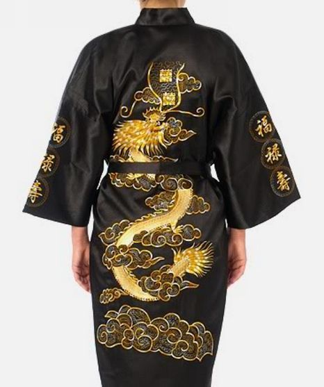 Nueva llegada negro hombres chinos de satén de seda Robe de la novedad bordado del Kimono de baño vestido dragón sml XL XXL XXXL Hombre Pijama S0011