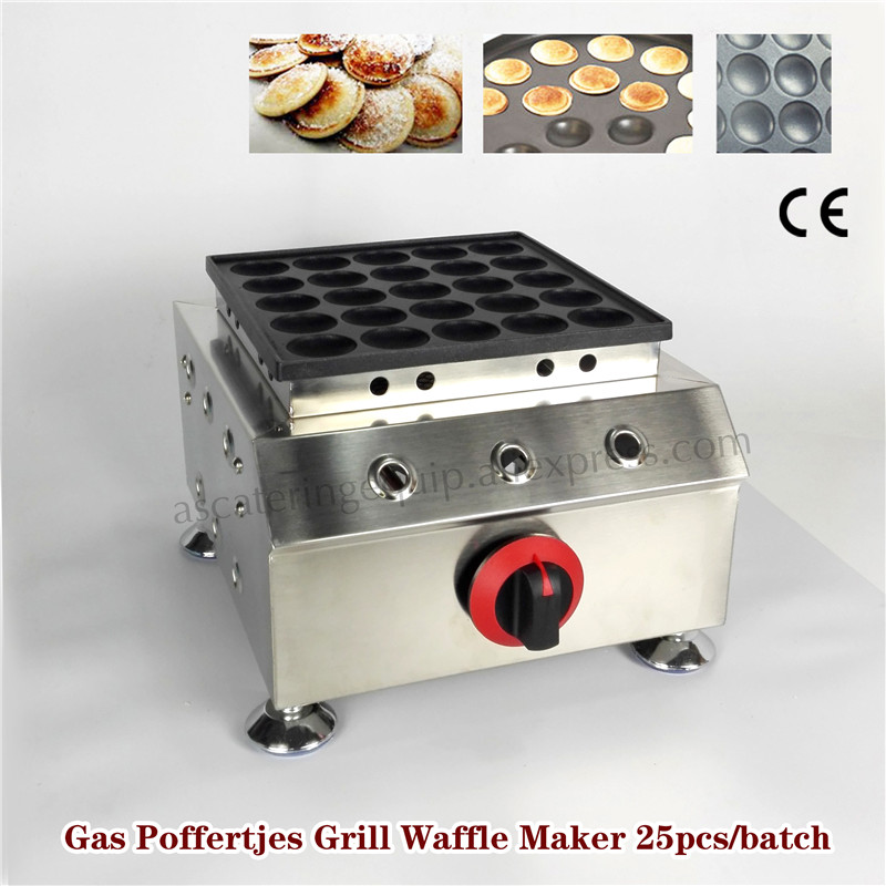 Gas Poffertjes Machine Stainless Steel Non-stick Pan Poffertjes Grill Waffle Maker With 25 pcs Poffertjes Moulds Brand New double pans small pancake machine poffertjes machine with non stick pan poffertjes grill waffle maker with 50 pcs moulds