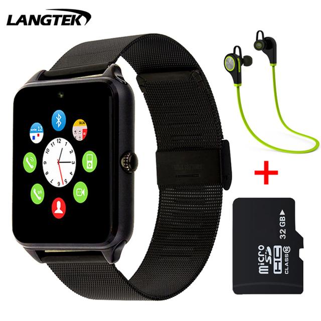 Suporte de sincronização do relógio notificador langtek smart watch gt12 conectividade bluetooth para android apple iphone smartwatch telefone do cartão sim