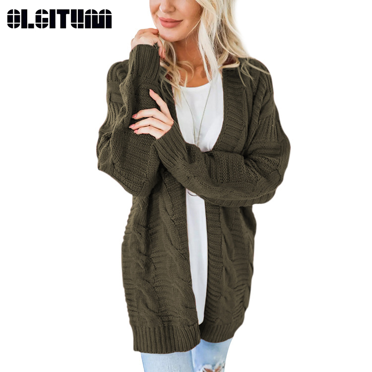Cardigan Sweaters Outerwear Long-Sleeve Open-Front Casual Winter Women Femme Tops New title=