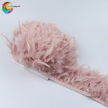 10 Meter Leather Pink fluffy Turkey feathers ribbon fringe 6-8inch turkey feather trimming dancer carnival costumes Diy Clothing