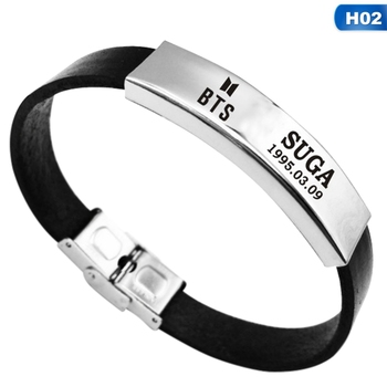 KPOP Army BTS Bracelet Love Yourself Album Bangtan Boys Silicone Fan Stainless Steel Wristband Bracelets bangle SUGA JIMIN V bracelet