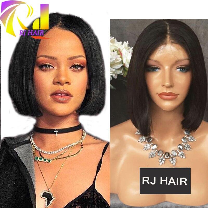 Rihanna Bob Brazilian Wig Human Hair Middle Part Bob Cut Full Lace