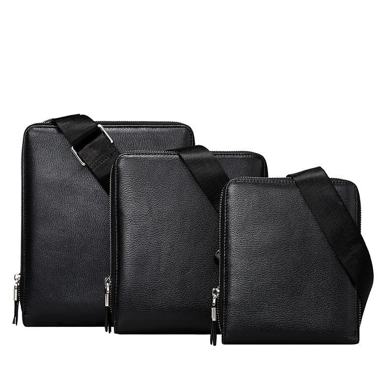 Color sólido de los hombres de cuero genuino documento bolsa de hombre de negoci