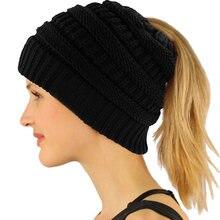 8fd01b399a310 (Livraison depuis FR) D'hiver en plein air Bonnets Chapeau Femmes Épais  Chaud Laine Chapeau Baggy Haute Bun Queue de Cheval Extensible bonnet en  trico.