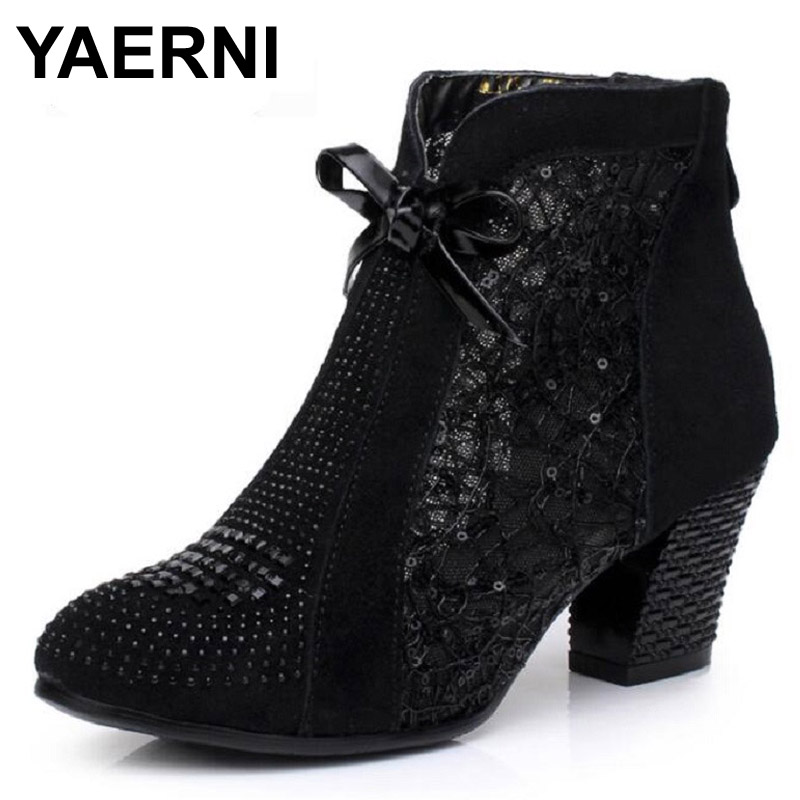 YAERNI Thick Mid Heel Nubuck Leather Lace Floral Bowknot Pearl Rivets Summer Women Fashion Sandals Ankle Boots Plus Size 32-42