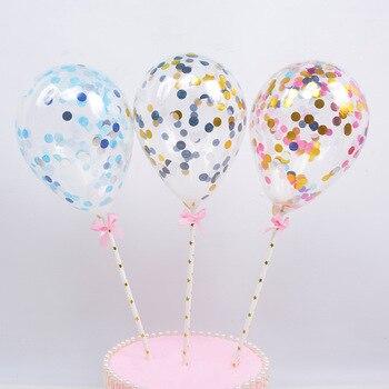 5 cal balon do konfetti ozdoba na wierzch tortu babeczka urodzinowa Topper na Baby Shower z słomka papierowa wstążka materiały na wesele