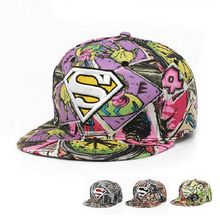 Graffiti Baseball Cap Superman Snapback Caps Hat Cool Adjustable Gorras Scrawl Hip Hop Flat Hats For Men Women