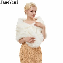 JaneVini Winter Bridal Warps Faux Fur Coat Wedding Bolero Women Jacket Bride Wedding Cape for Evening Prom Dresses Bruids Bolero