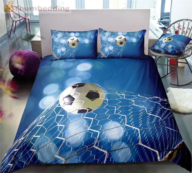 Thumbedding Dropship Blau Hintergrund Fußball Bettwäsche Sets Volle 3D Sport Bettbezug-set Hohe Qualität Ausgelegt Bett Set 3 stücke