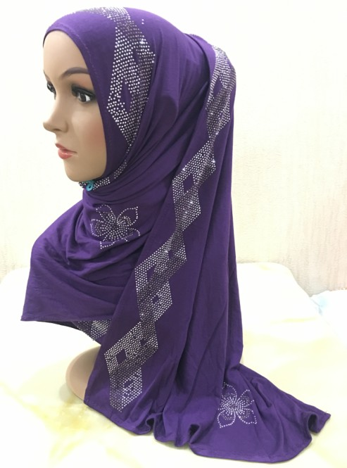 H1324 fashion modal elastic jersey cotton long scarf with rhinestones women s headwrap fast delivery free