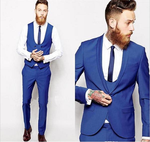 Mode Costumes De D'affaires vestes Hommes Fit 2018 Blazer Bleu Pantalon Slim Smoking Noir Mariage Marié Royal AwqfIxwB7S