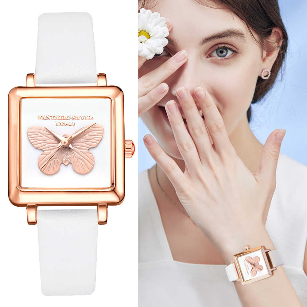 Lvpai Brand 3D Embossed Butterfly Square Women Dress Watches Fashion Leather Creative Quartz Clock Ladies Bracelet Wrist Watch