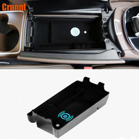 Mobile phone wireless charging in the middle of store content box Car Accessories For Mercedes Benz E W213 E200 E300 2017 2018