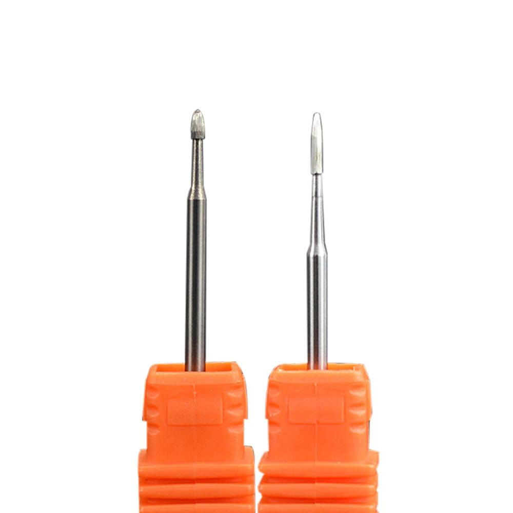 2Pcs/set Carbide Burr Nail Drill Bits Cuticle Cleaner 3/32\