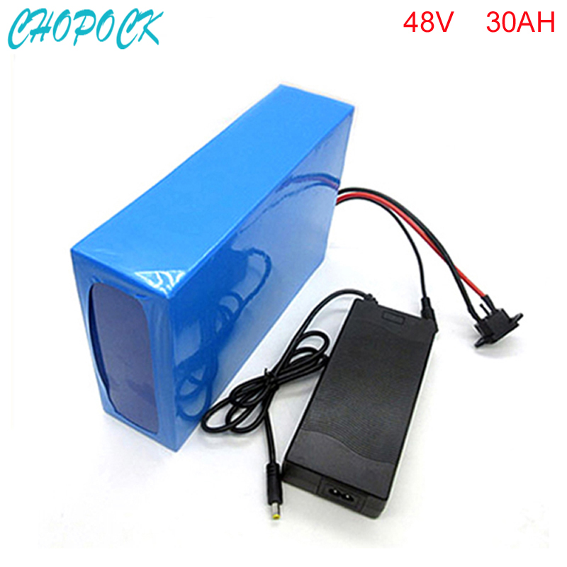 US EU No Tax Scooter Battery 48V 30Ah Electric Bike Battery DIY 48V 1000W Lithium ion Battery Pack with BMS 54.6V 2A Charger 1200w 48v scooter battery electric bike battery 48v 20ah lithium ion battery pack with pvc case 30a bms 54 6v 2a charger