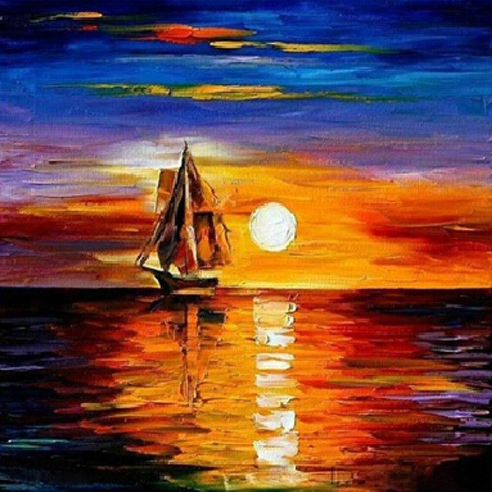 Вышивка крестом море на закате