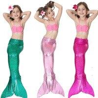 2017 Hot Children Girls Summer The Mermaid Shell Bikinis Set Skirt Three Piece Performance Swimsuit Swimwear