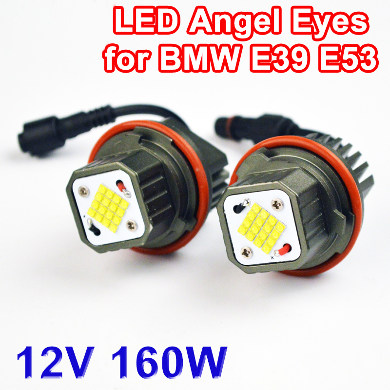 Flytop CANBUS Error Free 2*80W 160W LED Marker Angel Eyes for CREE LED Chips 9-32V White for E39 E53 E60 E61 E63 E65 E87 free shipping rgb color change cree chips led angel eyes led marker for bmw e39 e87 e63 e64 e53 e65 e66 e60 e61