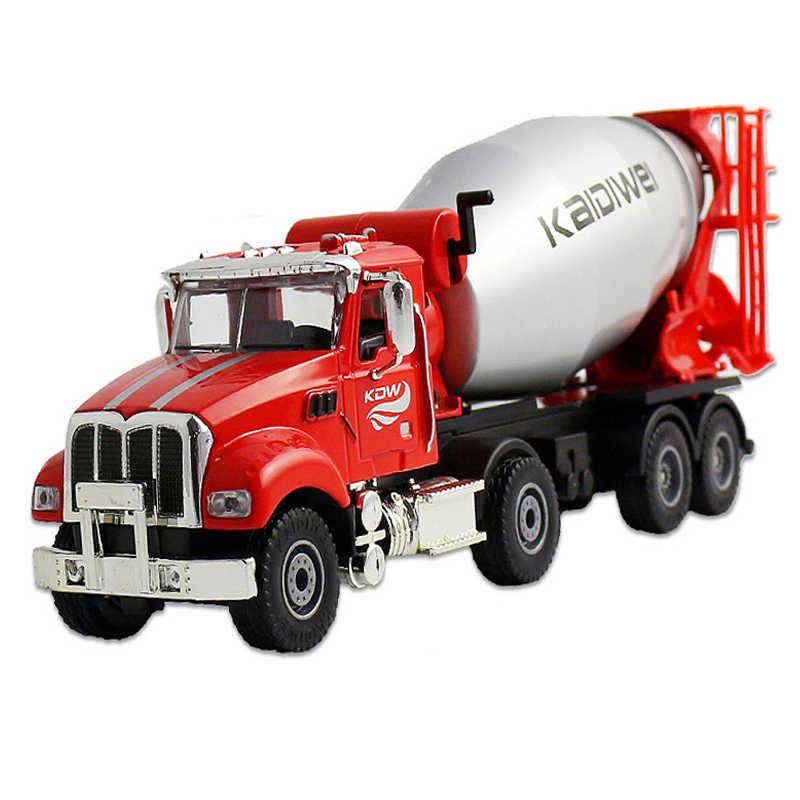 KDW aleación Diecast 1:50 camión de ingeniería americano modelo coche mezclador de cemento sitio de construcción juguetes de Metal para niños juguetes de Hobby