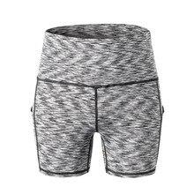 Women High Waist Yoga Slant Pocket Running Training Sports Quick-drying Tight-fitting Stretch Fitness Shorts