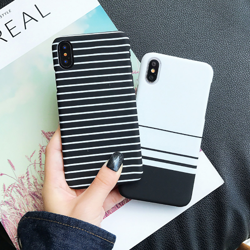KIP7P1259_6_JONSNOW Black White Plaid Stripe Pattern Phone Case For iPhone 6 6S 7 8 Plus XS XR XS Max Cases Painted PC Hard Protective Back Cover
