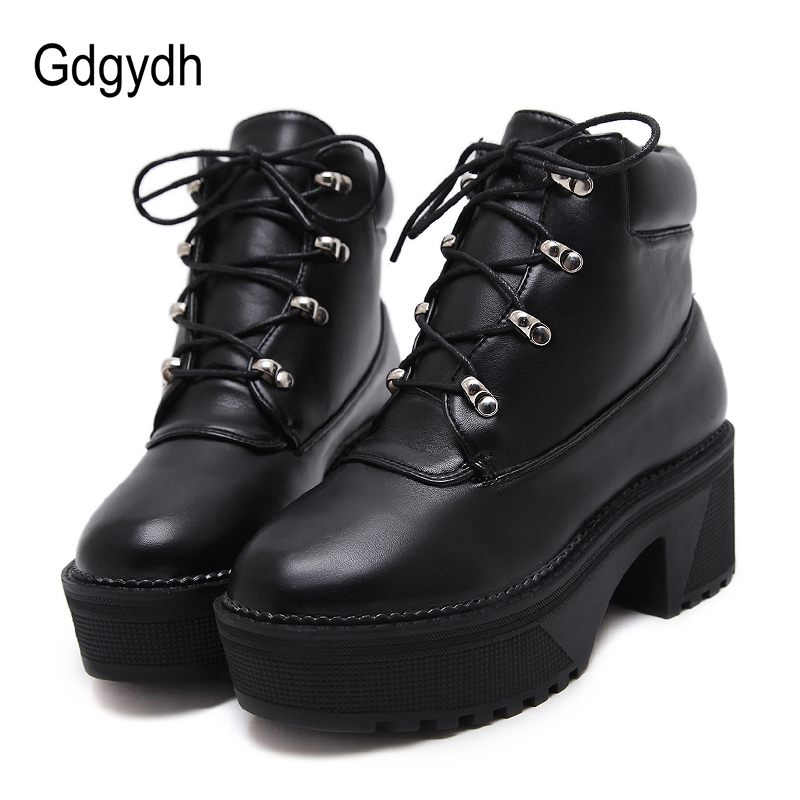 Gdgydh 2018 New Autumn Fashion Lacing Platform Boots Women Round Toe High Heels Ladies Casual Shoes Ankle Boots Soft Leather taipower onda 8 inch 9 inch tablet pc battery 3 7v 6000mah 3 wire 2 wire lithium battery