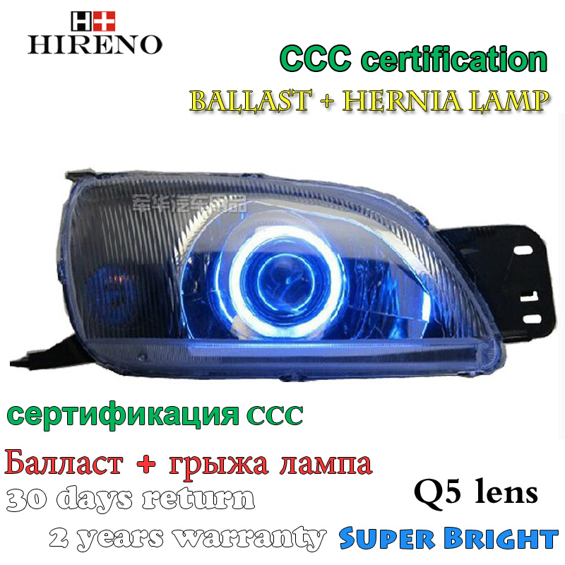 Hireno Modified Headlamp for Ford Fiesta 2003-2006 Headlight Assembly Car styling Angel Lens Beam HID Xenon 2 pcs