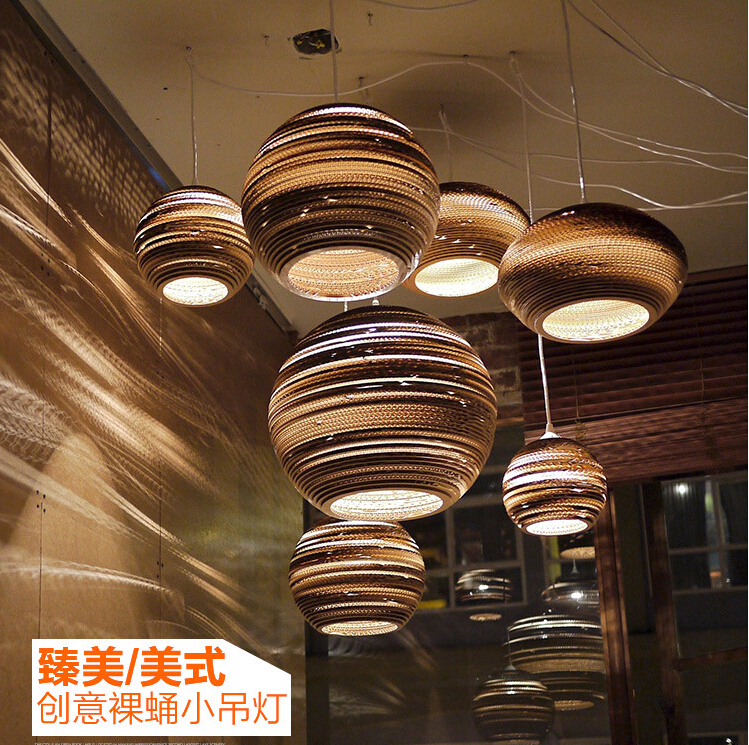 Loft Style Paper Honeycomb Droplight Vintage Pendant Light Fixtures For Dining Room Naked Pupa Hanging Lamp
