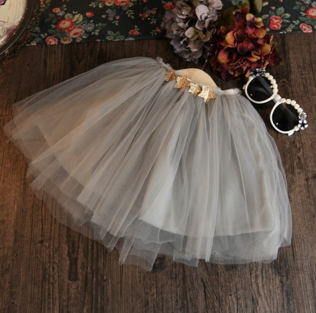 free shipping 2016 summer new baby girls tutu skirt mesh gray girls pettiskirt  stars design 1 pcs kids skirt suit 2-7t saia