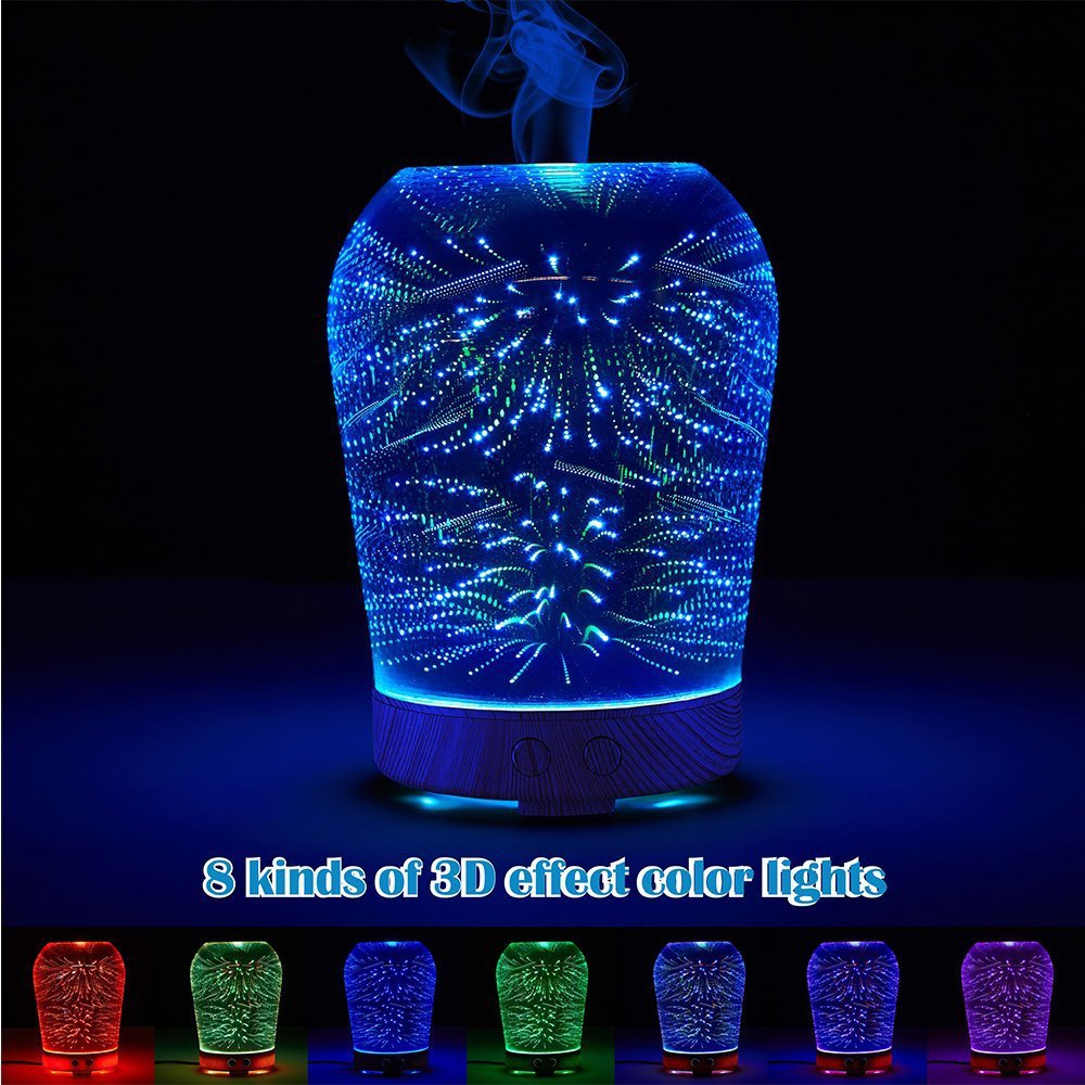 Changing Color 3D Essential Oil Diffuser Kolinder Glass 100mL Aromatherapy Ultrasonic Aroma Lamp Cool  Mist Humidifier Maker hot sale humidifier aromatherapy essential oil 100 240v 100ml water capacity 20 30 square meters ultrasonic 12w 13 13 9 5cm