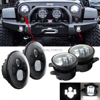 Round 7 INCH 40W Daymaker LED Headlight And 2PCS 4INCH 30W LED Passing Fog Lamps For