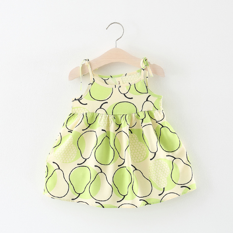 New Style Princess Girls Dress Baby Clothes Cartoon pear sleeveless Party Dress Kid Birthday Clothes