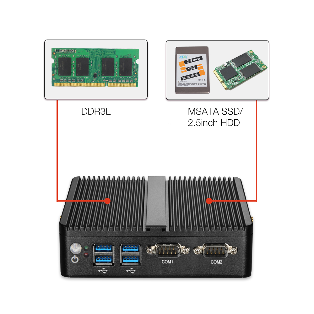 Image 3 - HLY Mini PC Dual LAN Celeron N2810 Celeron J1900 Mini Computer Gigabit LAN Windows 7 pfsense firewall PC Mini 2*COM HDMI TV BOX-in Mini PC from Computer & Office