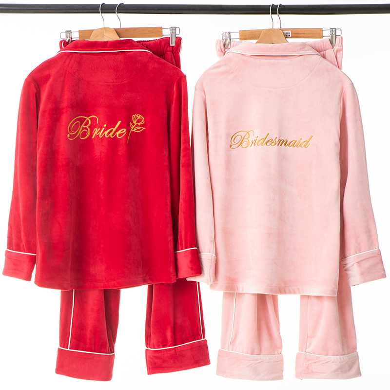 Autumn Winter Velvet Women Pajamas Set Embroidery Bride Bridesmaid Wedding Clothes Long Sleeve Home Clothes Marriage Gift