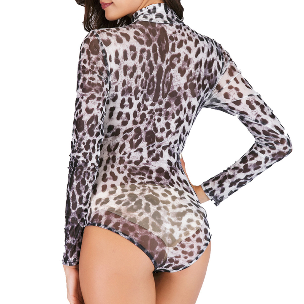 Elegant Sexy Jumpsuits Women Rompers Women Sexy Babydoll Long Sleeve Leopard Playsuit Bodysuit