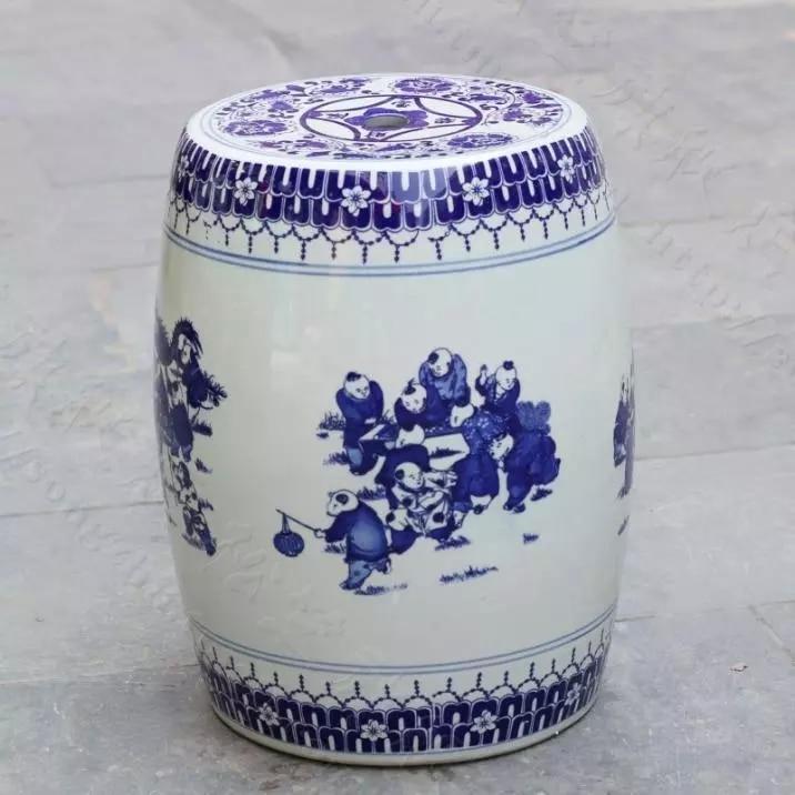 Blue And White Indoor Ceramic Antique Drum Porcelain