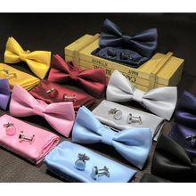 3 шт./компл. Мужская Мода Деловые туфли; Свадебные Мужские галстук-бабочка хлопок высокого Класс Тонкий комплект свадебные галстуки Боути/Запонки/нагрудный платок