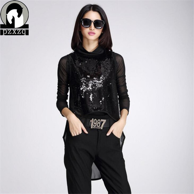 Europe Station Brand Design Black 2019 spring New Women Fashion Lace T-shirt 2 Sets Sequined Vest + Long-sleeved T-shirt 2 Piece