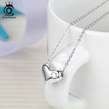 Pure Smooth 925 Silver Love Heart Pendant with Charm Zircon Genuine Sterling Silver Necklace for Women