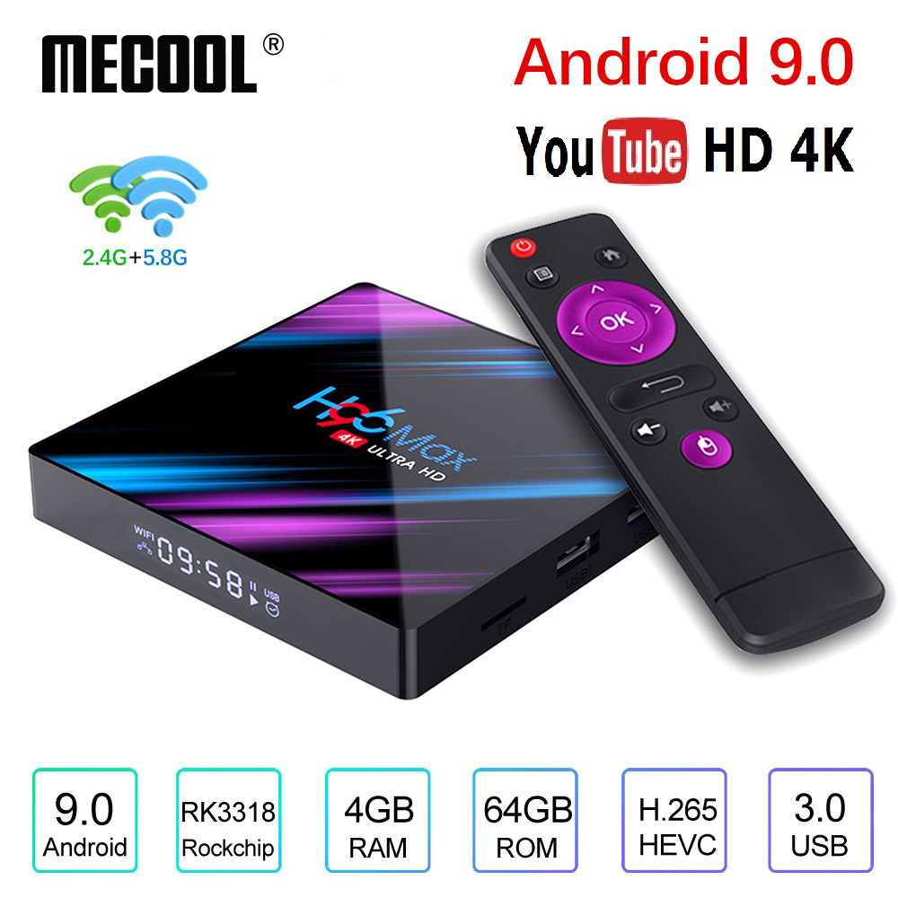 H96 MAX Android 9.0 Rockchip RK3318 4GB RAM 64GB H.265 4K 60fps Google Player Store Netflix Youtube H96MAX décodeur