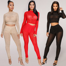 Popular Two Pieces sets perspective mesh diamonds tracksuit women set sheer crop top and pants matching suit sexy club