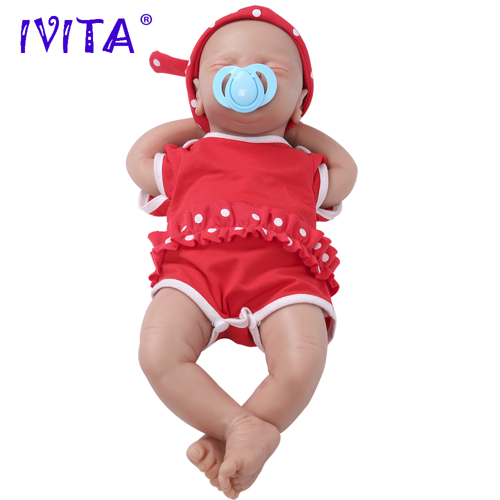 IVITA New Design 3 Kg 18 Inch Eyes Closed Lovely FULL BODY SILICONE Reborn Baby Dolls Take A Pacifier